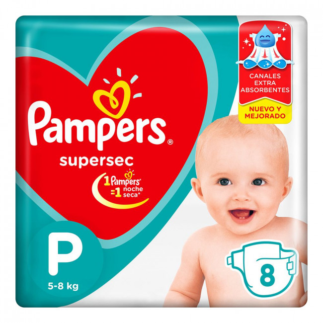 PAMPERS SUPERSEC PEQ  X 8UNID